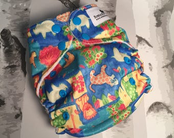 One size cloth diapers. Zoo animals AI2 one size cloth diaper, Borealis Britches, zoo diaper, hemp cotton insert