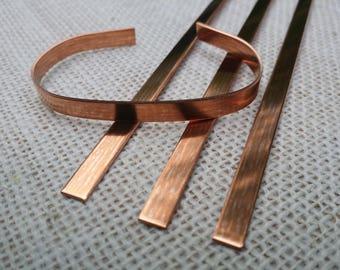 12 Polished 1/4' x 6' 18 Gauge Pure Copper Cuff Bracelet Blanks