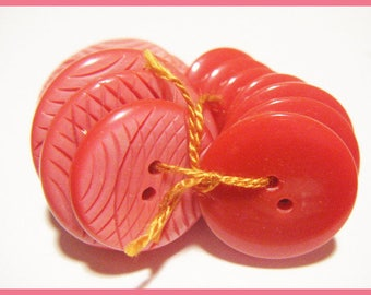 12 buttons red - sewing or scrapbooking