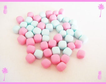 ♥ 50 miniature Marshmallow Fimo polymer clay for jar - pastel ♥