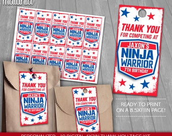 American Ninja Warrior Thank You Tags Printable - PERSONALIZED - Ninja Warrior Birthday Party tags - American Ninja Warrior Birthday Labels