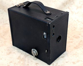 1924 Eastman Kodak No. 2A Brownie Model C Box Camera Vintage Box 116 Roll Film Metal Body Leatherette Covering Made in USA