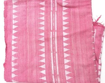Mud Cloth, Deep Pink and White print, Tibal Print, Authentic Hand crafted Textile from Mali