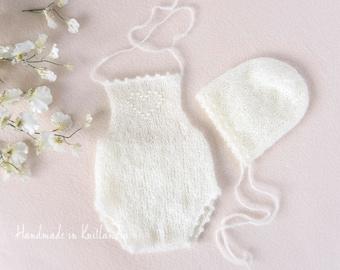 Newborn Mohair Romper and Bonnet Set, Newborn Photo Prop