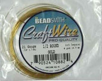 Non Tarnish Gold 1/2 Round Craft Wire Beadsmith 21 Gauge 4 yrds Jewelry Making Supplies Beading Supplies Cabochon Wrapping Made in the USA