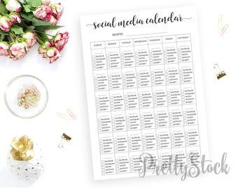 Social Media Calendar, Social Media Printable Planner Inserts, Social Media Marketing, A4, A5, Letter, Half letter, Binder Printable