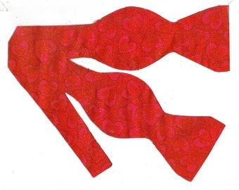 glittering red hearts self tie bow tie valentines day bow ties valentine hearts