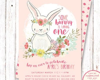 Bunny Birthday Invitation, Summer Birthday Invitation, Floral Birthday Invitation, First Birthday Invitation, Bunny Birthday Invitation
