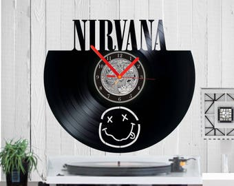 Nirvana Vinyl clock wall clock handmade wall art Nirvana uhr Kurt Cobain record clock Birthday gift Nirvana art Classic Rock Music Clock