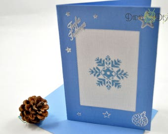 Embroidered Christmas card with blue Snowflake