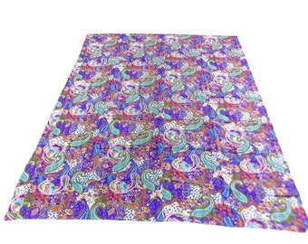 Paisley Design Indigo Handmade Kantha Throw Bedspread Reversible Vintage Quilt in Purple Color