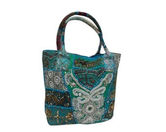 Indian Cotton Banjara Embroidery Handbag in Green Color