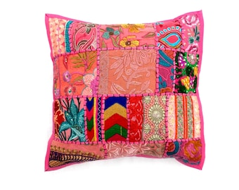 """Indian Pure Cotton Cushion Cover Home Patch Work Decorative Pink Color Size 17x17"""""""