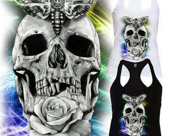 Woman Vest Skull Black and White Colour Handmade