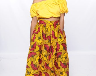 African Print Maxi Skirt with Pockets and Side Split