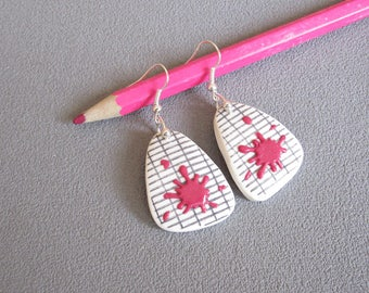 Master gift: master earrings, school notebook, pink patches earrings in polymer clay, thank you teacher, earrings back to school