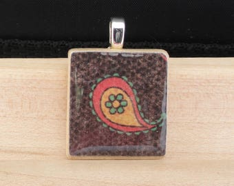 paisley scrabble tile necklace, brown paisley charm, gift for her, stocking stuffer for women, gift for mom, gifts under 10, gift for teen