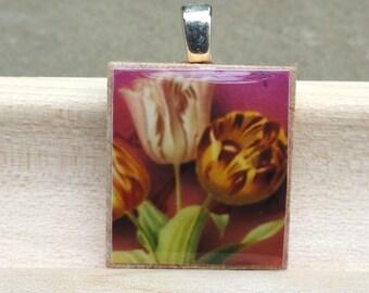 flower charm, scrabble flower necklace, upcycled pendant, stocking stuffer for women, stocking stuffer for teen, game piece, under 10,