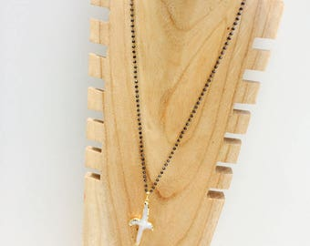 Cross pendant necklace Charlotte - mother of Pearl gold plated and glass beads of faceted - Rapture rivers!