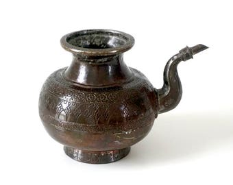 Indian Antique Copper Kendi Water Vessel - Hand Engraved - Hindu Ritual - Copper Pitcher