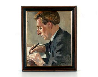 French Vintage Portrait Painting - Man at Study - Original Oil Painting - Signed Elizabeth Casthelaz - Male Portrait Painting
