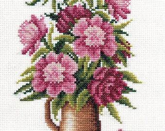 Counted Cross Stitch Kit Bouquet of peonies