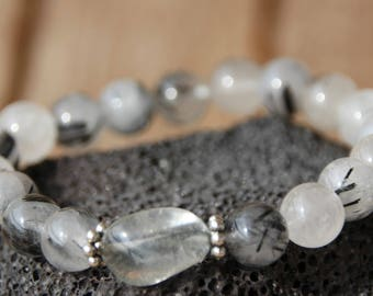 quartz tourmaline with pearl bracelet