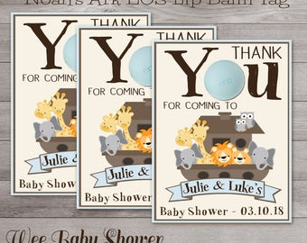 PersonalizedBaby Shower Thank You Tag, Noah's Ark EOS lip balm Thank you
