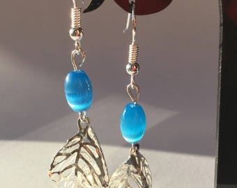 Earrings blue and silver cage with crystals and Blue Pearl