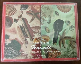 """Vintage Two Deck Set of """"Nu-Vue"""" Hawaiian Theme Bridge Playing Cards - Made in USA - 1950's to 1970's"""