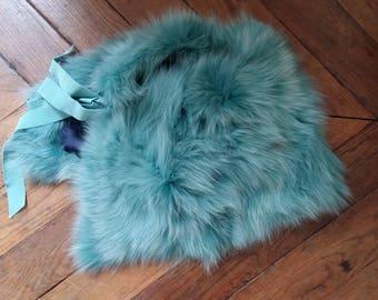 Turquoise Fox stole Cape