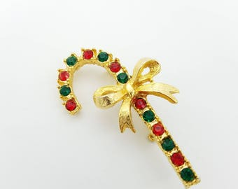 Vintage Gold Tone & Rhinestone Candy Cane Brooch With Bow