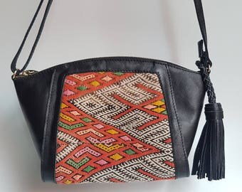 Exclusive Vintage kilim & Brown Leather Shoulder Bag / Kilim Bag /
