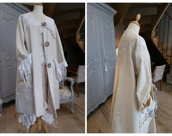 AMELIA cotton Beige romantic, Victorian coat, chabby chic, Bohemian, hippie Gypsy