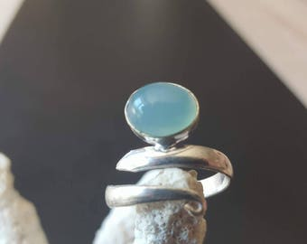 Chalcedony ring, chalcedony stone ring, silver ring, solid sterling silver ring, sterling silver ring adjustable