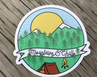 Mountains and Chill Vinyl Sticker