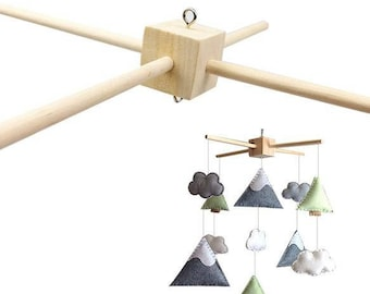 Support 4 branches mobile wooden hanging - natural-Diam: 33cm