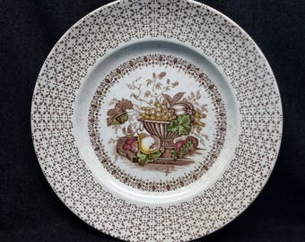 "Antique Vintage Empire Porcelain of England Beverley Brown Multicolour 9"" Dinner Plate"