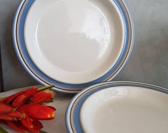 "Set of Two Vintage Arabia Finland Dinner Plates ""Uhtua"" pattern designed by Inkeri Leivo. 1960s"
