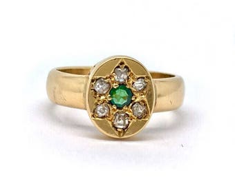 Antique 18ct Gold Diamond and Emerald Starburst Ring