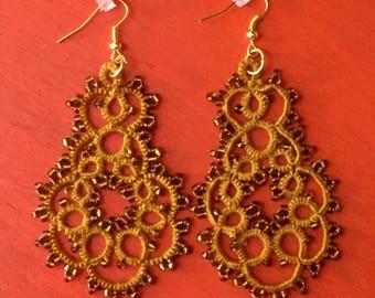 Handmade yellow tatting earrings, lace earrings, beaded tatting jewelry, filigree tatting jewelry, chandelier earrings