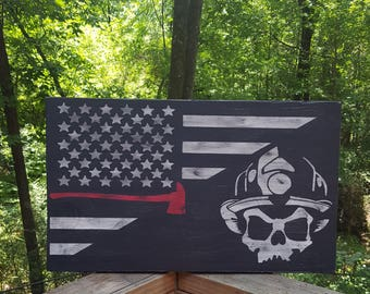 Firefighter Flag, Thin Red Line, Firefighter Skull with Flag, Fireman