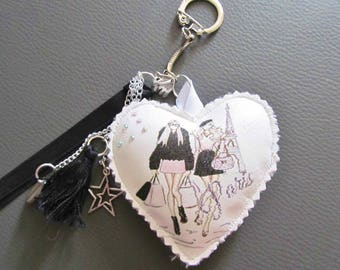 Keychain, bag chic and trendy black unique creation