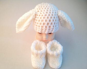 Crochet Bunny hat, rabbit hat, hat with ears, bunny beanie, rabbit beanie, white, winter, baby hat, baby beanie, big ears hat