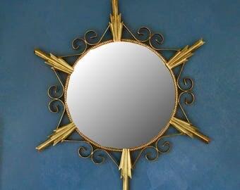 Brass Sunburst Mirror Mid Century Modern MCM Mirror