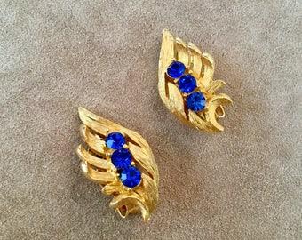 Sapphire Blue Rhinestone Vintage Clip Earrings
