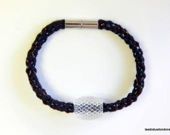 Women multicolor black kumihimo braided bracelet
