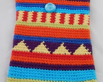 Small pouch style backpack kilim multicolor crochet