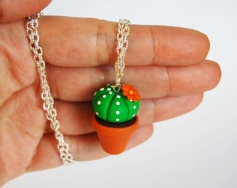 Cactus Succulent necklace in fimo-orange flower-collection CactusLovers