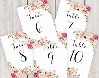 Wedding Table Numbers Printable, 5X7 Table Numbers Wedding #6-10, Instant Download, Table Numbers, Printable Table Numbers, Vintage, B120